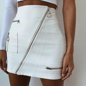 Dresses & Skirts - White Leather High Waisted Zip Skirt